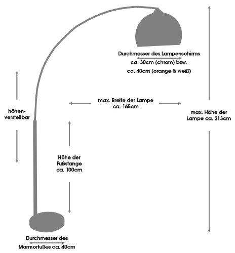 Steh-Lampe weiß mit Dimmer und Fuß aus Marmor 213x165 cm | Big Mess | Steh-Leuchte höhenverstellbar mit verchromten Metall | Bogen-Lampe für Wohnzimmer 213cm x 165cm - 5