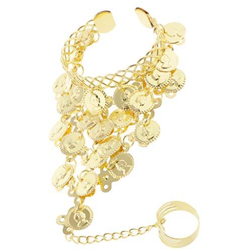 (F Fityle Damen Bauchtanz Kostüm Finger Ring Armband Handschmuck Manschette Belly Dance - Gold)