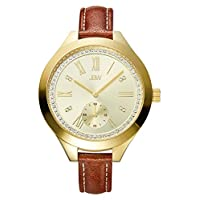 JBW Luxury Women's Aria Diamond Wrist Watch with Leather Bracelet Women's Gold/Brown