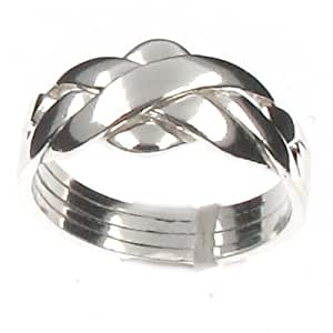 Sterling Silver 4 Band Puzzle Ring - L 1/2