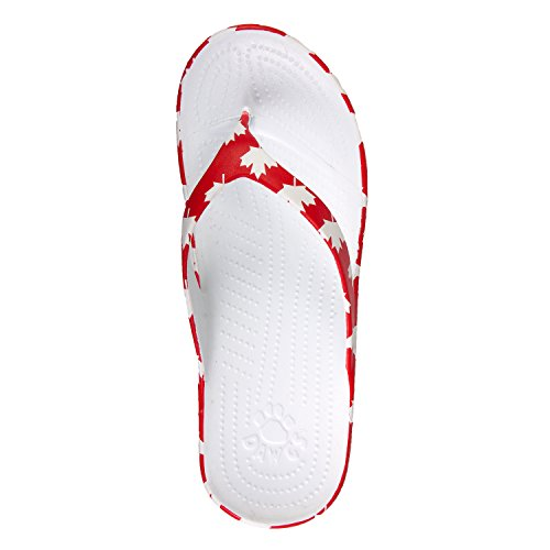 Dawgs Mens Beach Arch Support Flip Flops Canada (Red/White)
