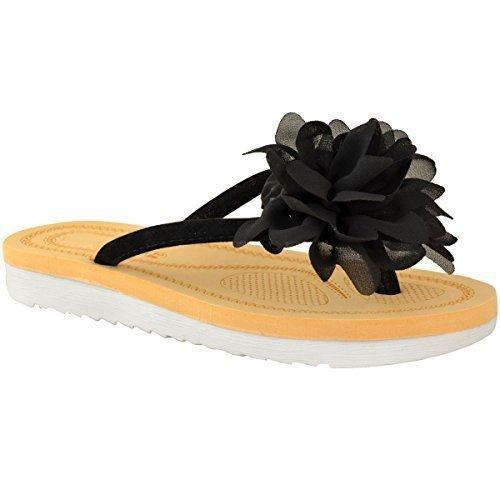 Fashion Thirsty heelberry Donna Sandali Infradito Fiore Estate Sandali Infradito Spiaggia Vacanza Scarpe Numeri Nera Pelle Scamosciata