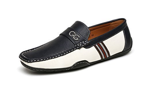 Nero da uomo marrone gg firmato casual estive da infilare mocassini driving scarpe moda taglia uk - nero (blu/bianco), 41.5
