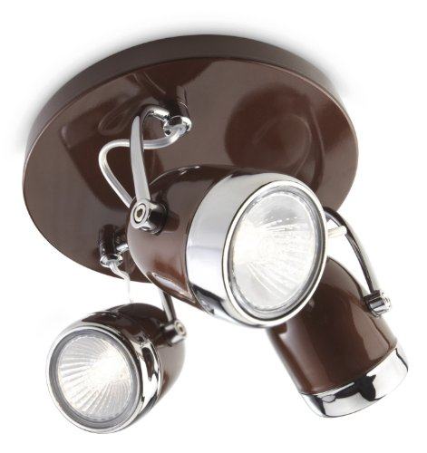 Philips-Balsa-Lampada-da-3-Faretti-Metallo-Marrone-e-Dettaglio-Cromo