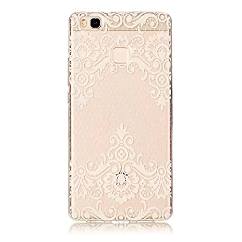 Etui pour Huawei P10 Lite KSHOP Coque Protection en Gel Silicone TPU Premium Bumper Cover 2017 Transparent Crystal Design avec Motif - Rose Pâle, Elégant, Motif de Fleur de Vigne