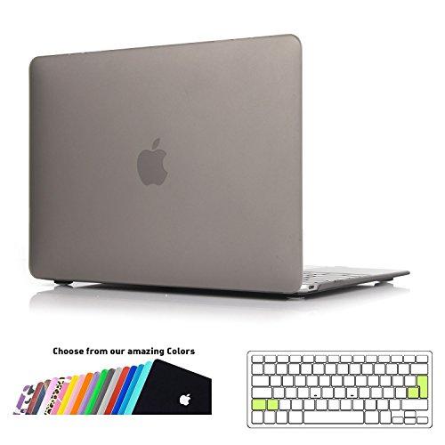 custodia macbook 12 pollici,ineseon plastica cover rigida duro case shell e eu versione trasparente tastiera copertina per apple macbook 12 retina display modello: a1534(grigio)