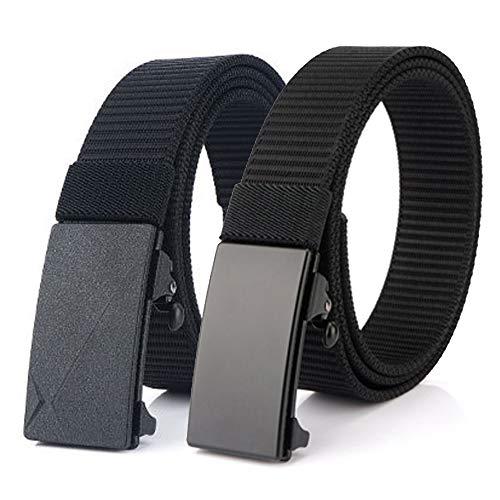Bansga Cinturón de Nylon, Cinturón de Trinquete Deslizante con Hebilla Automática, Cinturón Web Ajustable Para Hombres, Mujeres y niños (S Negro + Negro