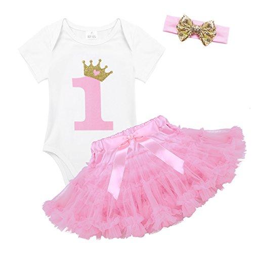 iEFiEL Baby Mädchen Kleidung Sets 1. Geburtstag Kurzarm Body Strampler + Pettiskirt Tutu Rock + Stirnband festlich Kleinkind Weiß & Rosa 74-80 (Herstellergröße: 70)