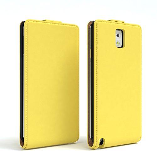 Samsung Galaxy Note 3 Hülle - EAZY CASE Premium Flip Case Handyhülle - Schutzhülle aus Leder zum Aufklappen in Schwarz Gelb
