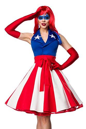 (Sexy Miss America Kostümset Kostüm Superheld Held Heldin Blau Rot Weiß; Größe: M)