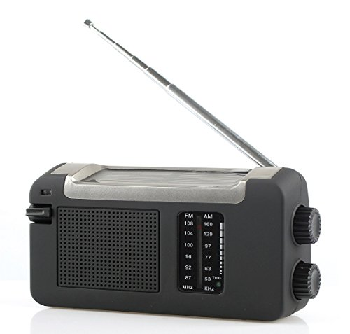 Reflexion TRA505DS tragbares Kurbel-Radio, UKW, MW mit Solar-Ladefunktion (Dynamo, Handy-Lader, Solar, Mini-USB)