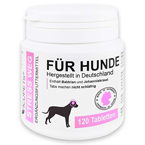Vicupets® Stress Weg für Hunde | Vorbereitung auf Stresssituationen im Alltag | für nervöse & ängstliche Hunde | enthält Baldrian | Made in Germany