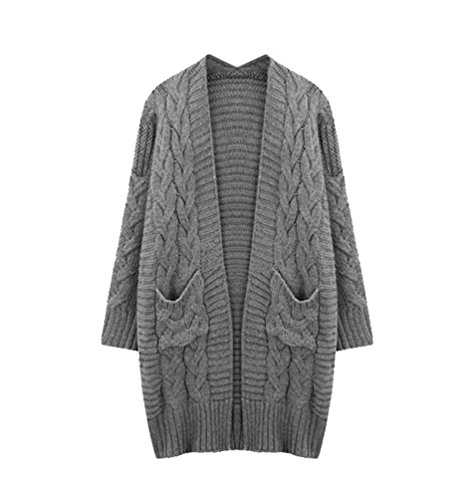 YuanDian Femme Automne Et Hiver Casual Grande Taille Gilet Long Maille Ample Stretch Cardigan en Laine Chaud Poches Grosse Maille Pull Cardigan Gris 5XL