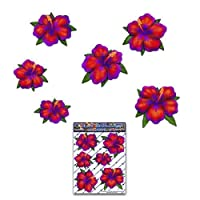 JAS Stickers® FLOWER HIBISCUS Car Sticker - Red Tropical Small Vinyl Decal Pack For Laptop Luggage Bicycle Bike Caravans Van Camper Trucks & Boats - ST00044_SML