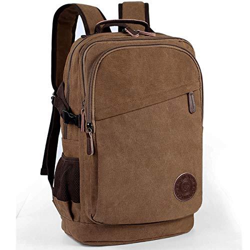 Canvas Rucksack 35L Laptop-Rucksack 17.3 Zoll Schulrucksack Studenten Backpack Herren Arbeitsrucksack für Alltag Business CampusDunkelbraun)