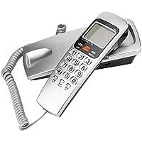Richer-R Wandtelefon Schnurtelefon, Schnurgebundenes Telefon FSK/DTMF Anrufer ID Telefon Kompakttelefon,Schnurgebundenes Analog Telefon für Hause Büro 4 Farben(Silver)