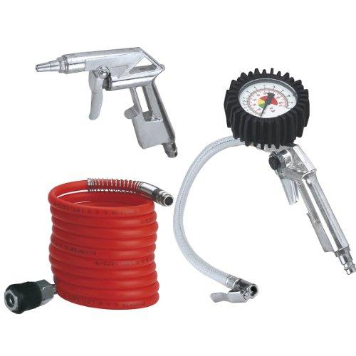 Einhell Druckluft Set, 3-teilig (4 m Spiralschlauch, Reifenfüllmesser, Ausblaspistole)