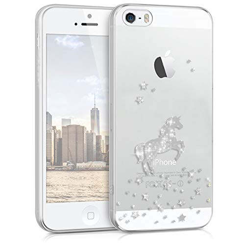 kwmobile Apple iPhone SE / 5 / 5S Hülle - Handyhülle für Apple iPhone SE / 5 / 5S - Handy Case in Silber Transparent