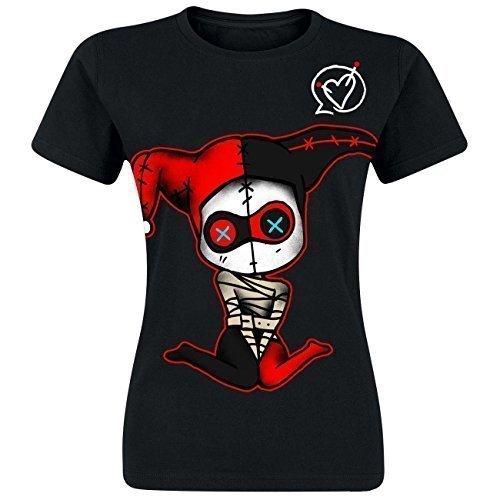 Cupcake Cult–Camiseta Insane Negro Harley Quinn Descarga impresión Cosplay Goth EMO Negro Negro Small