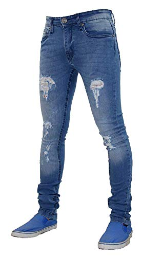 0f554d7c09 Mens G-72 Stretch Skinny Slim Fit Ripped Denim Cotton Jeans (38W x 32L
