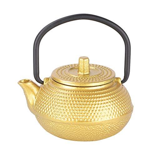 41p6mCumP6L - Yonhchop 0.3l Mini Golden Cast Iron Teekanne mit flachem Boden und Griff Imitation Kung Fu Tee-Set