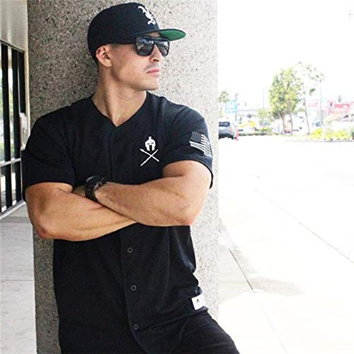 NUASH T-Shirt Sport Top Herren Kurzarm Running T-Shirt Fitness Bodybuilding Cotton Gym Sweatshirt Herren Schwarz Shirt Baseball XL Schwarz