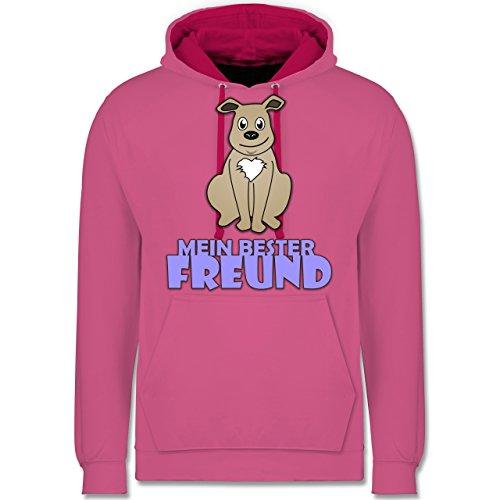 Hunde - Mein bester Freund Hund - Kontrast Hoodie Rosa/Fuchsia