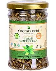 Orgrain India USDA Certified Organic Tulsi Green Tea – 40gms (Immunity Booster)
