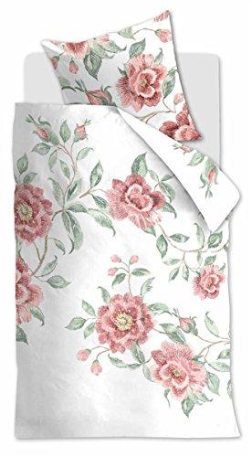 Beddinghouse Reine Baumwoll Bettwäsche 4 teilig Bettbezug 135 x 200 cm Kopfkissenbezug 80 x 80 cm Floral Ceremony 171521 Rosette Pink