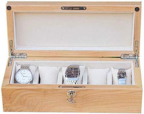 Uhrenbox 5 Slot Holz Uhrenbox Geschenkbox Schmuck Display Aufbewahrungsbox herausnehmbares Aufbewahrungskissen Uhrenbox Männer und Frauen Holzfarbe,Uhren Display Aufbewahrungsbox Schmuck Sammlung Fall