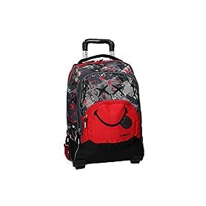 Smiley World Mochila rojo bolsa de ocio escolar con la carretilla VZ733