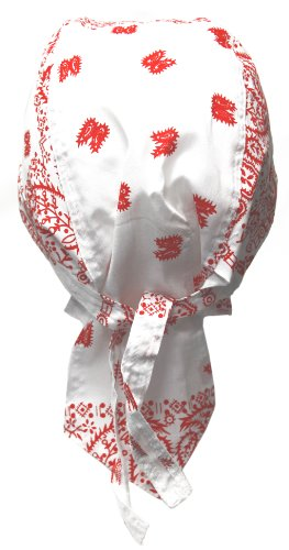 Bandana Cap weiß mit rotem Paisley Muster