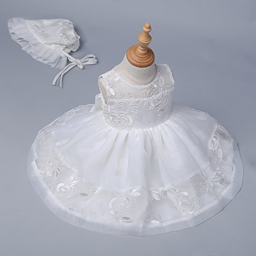 YiZYiF Baby Mädchen Taufkleid Gr. 62 68 80 86 92 Festlich Party Kleider Blumenmädchenkleid Ivory-Weiß mit Mütze Ivory 62 - 2