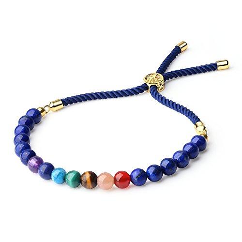 COAI Geschenkideen Glücksarmband aus 7 Chakra und Lapislazuli Verstellbares Yoga-Armband für Damen und Herren in Jeder Gewünschten Größe
