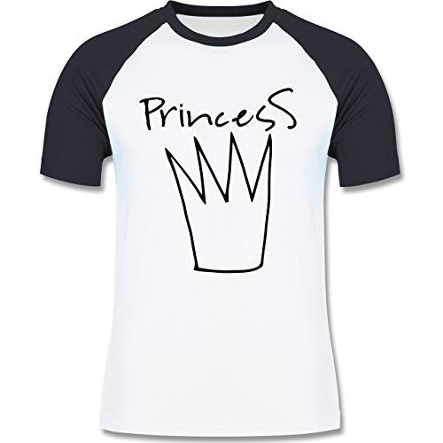 Statement Shirts - Princess Krone - zweifarbiges Baseballshirt für Männer Weiß/Navy Blau