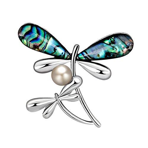 Qinlee Damen Brosches Shell Dragonfly Brooch Pin Mädchen Kragen Pin Ansteckernadel Kleidung Zubehör Schmuck für Festival Party -