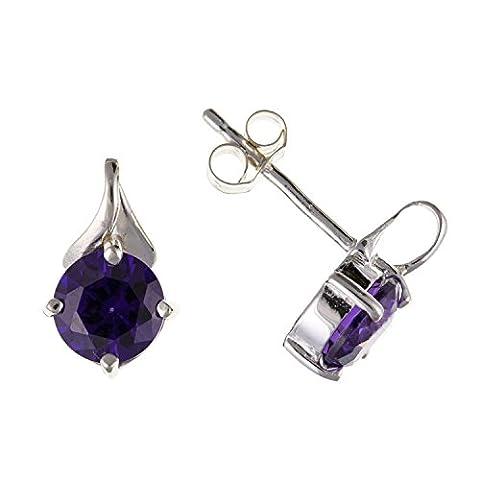 6mm améthyste Violet Sparkling Coupe ronde Oxyde de Zirconium (CZ) Solitaire Boucles d'oreille à tige/clous d'oreille–Argent Sterling 925–Livré dans une boîte cadeau gratuit/sac cadeau