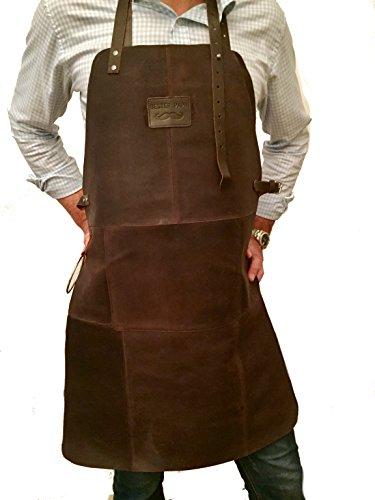 GRILLSCHÜRZE für den besten Papa: 100% echtes Leder, sehr edel, Mit Label an der Brust - Bester Papa-, super Geschenk. Beste Qualität!!! Dunkelbraun Echtleder Arbeitsschürze 82x57cm. 1,5mm dick