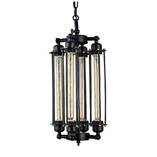 Kronleuchter Retro Vintage Edison Fl?te E27 H?ngende Lampen 4-flammig Eisen Schwarz H?henverstellbar H?ngeleuchte Schlafzimmer Esszimmer Restaurant Pendelleuchte Lüster ?20cm*H48cm