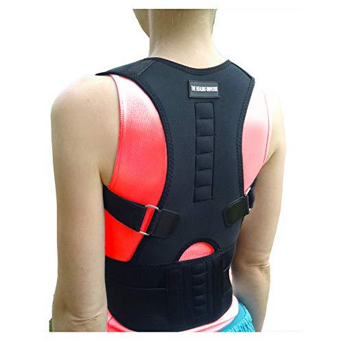 The Healing Universe - Kyphosis Bandage - Zur Geradehaltung von Rücken und Schultern - Beste Rückenunterstützung - Lindert Schmerzen der Wirbelsäule - gegen Haltungsschäden und Ermüdung (Black, Small) -