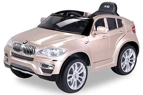 Actionbikes Motors Kinder Elektroauto Original BMW X6 Sonderedition LACKIERT Lizenzierter 2 x 45 Watt Motor Ledersitz Elektro Kinderauto Kinderfahrzeug Spielzeug für Kinder (Champagne lackiert)