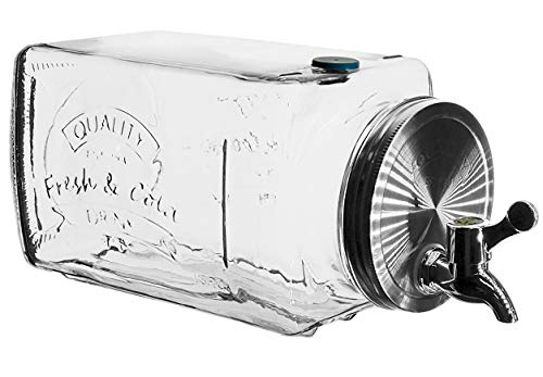 My-goodbuy24 Getränkespender aus Glas mit Zapfhahn | Optimal als Kühlschrank Spender | Wasser-Spender | Limonadenspender | Saftspender | Bowle | Dispenser 3 Liter - Kühlschrank (Mit Kühlschrank Zapfhahn)