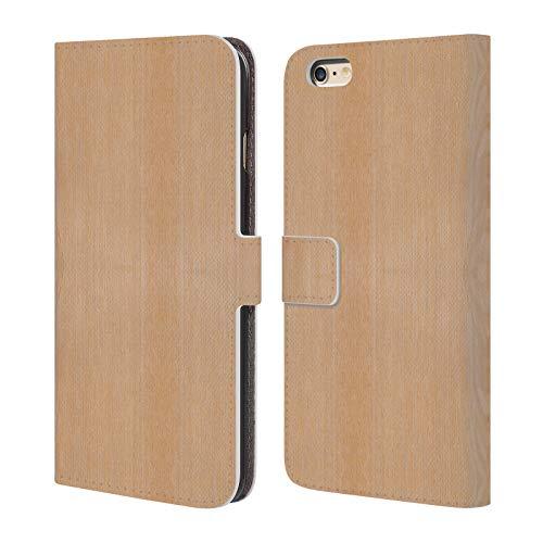 Head Case Designs Offizielle PLdesign Helles Braunes Korn Holz Und Rost Drucke Leder Brieftaschen Huelle kompatibel mit iPhone 6 Plus/iPhone 6s Plus (Aus Iphone 6 Holz-korn Case)