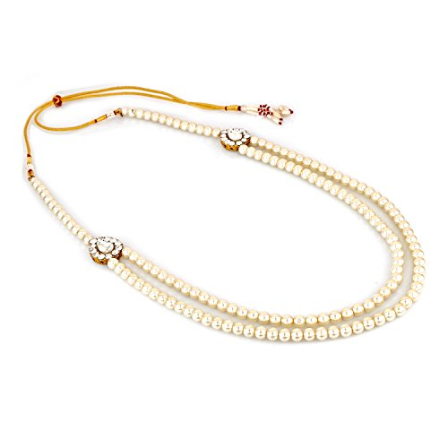 Rich Lady Dulha Gold-Plated Necklace Groom Moti Mala For Men (White)