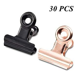 Kleine Bulldogge Büroklammern, MUXItrade 30pcs Metall Binder Clips Datei Papiergeld Klemmen für Tags Taschen, Geschäfte, Büro und Küche zu Hause (Rose Gold,Black)