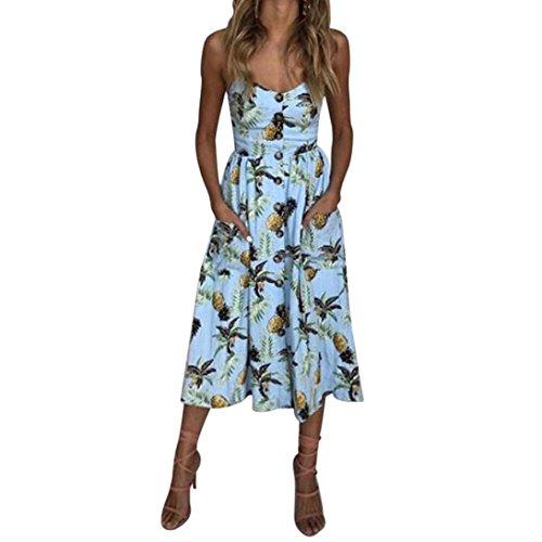 Damen Sommerkleid URSING Kurzarm V-Ausschnitt Ananas Drucken Party Knielang Swing Kleid Partykleid Cocktailkleid Sundress Frauen Elegante Strandkleider Vintage Festliche Kleider Minikleid (S, Blau)