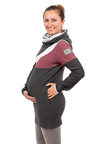 erschaftspullover Umstandspullover warm Stillpulli Hoodie für Schwangere Umstandsmode - Sonic - grau/Beere - XL ()
