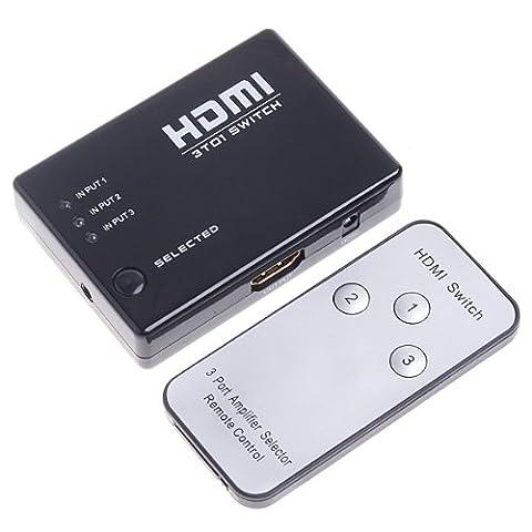 Kingzer 1080P vidéo 3 Port HDMI Switch Switcher Splitter pour HD/PS3/DVD avec télécommande infrarouge