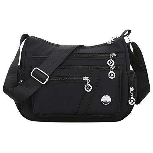 jgashf Damentasche Nylon Messenger Bag Mode Einfach Single Schulter UmhäNgetasche Wasserdichte Taschen Reisetasche Damen Mumienbeutel Langlebig(Schwarz,Freie Größe) -