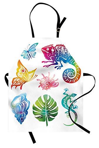 Tropische Schürze, künstlerisches abstraktes Design Exotische Fauna und Laub Schmetterlinge Reptilien Muscheln Blatt, Unisex-Küche Latzschürze mit verstellbarem Hals zum Kochen Backen Gartenarbeit, Mu -
